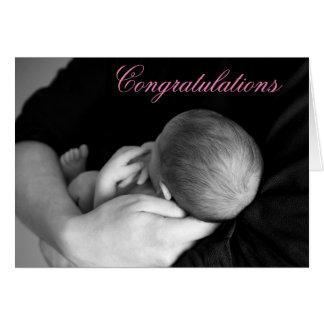 Enhorabuena en su tarjeta de la niña