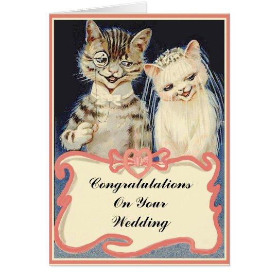 Enhorabuena en sus gatos del vintage del boda tarjeta de felicitación