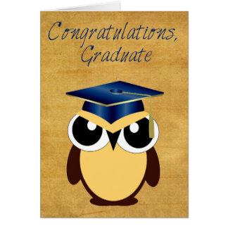 Enhorabuena en tarjeta de felicitación de la gradu