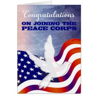 Enhorabuena en unirse a al cuerpo de paz tarjeta de felicitación