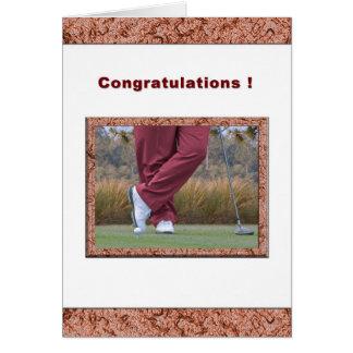 Enhorabuena encendido Agujero-en-Uno para golfista Tarjeta De Felicitación