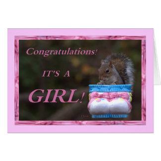 Enhorabuena… ¡Es un chica! Tarjeta De Felicitación