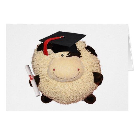 Enhorabuena feliz del grado de la vaca tarjeton