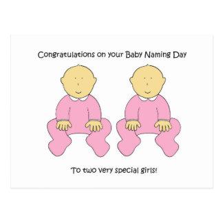Enhorabuena gemela del día de nombramiento de las postal
