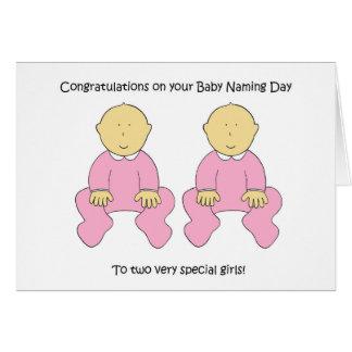 Enhorabuena gemela del día de nombramiento de las tarjeta de felicitación