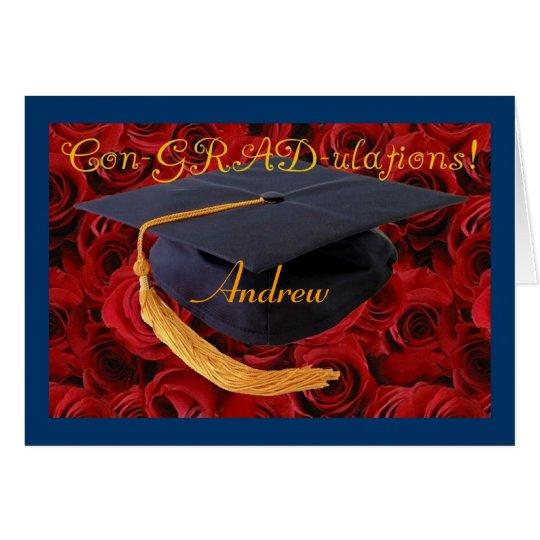 ¡Enhorabuena-Graduación-personalice el nombre! Tarjeta De Felicitación