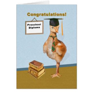 Enhorabuena, graduación preescolar tarjeta de felicitación
