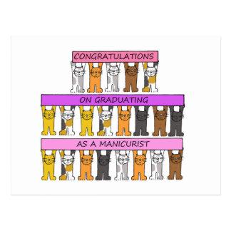 Enhorabuena graduada del manicuro postal