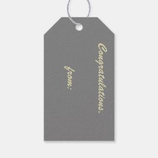 Enhorabuena gris (escritura del oro) etiquetas para regalos