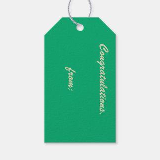 Enhorabuena Jade-Coloreada (escritura del oro) Etiquetas Para Regalos