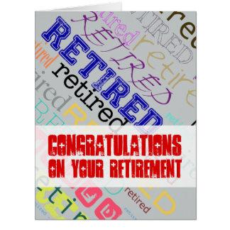 Enhorabuena jubilada en la tarjeta grande 1 del