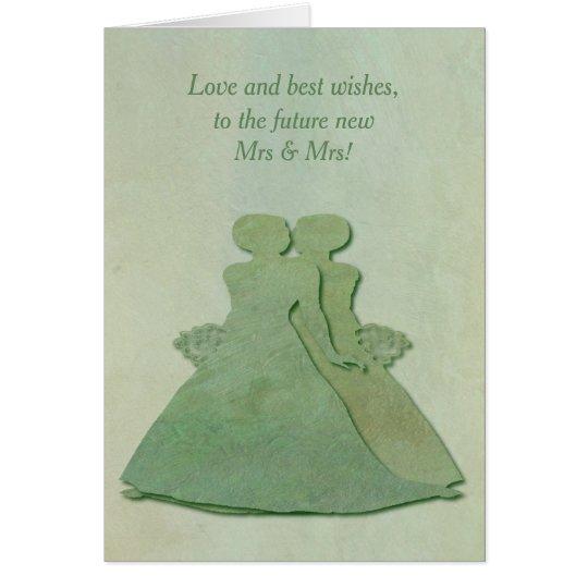 Enhorabuena lesbiana del compromiso - menta tarjeta de felicitación