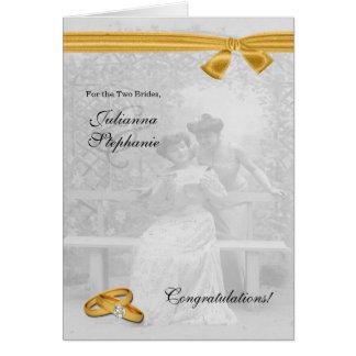 Enhorabuena lesbiana/homosexual del boda dos tarjeta de felicitación