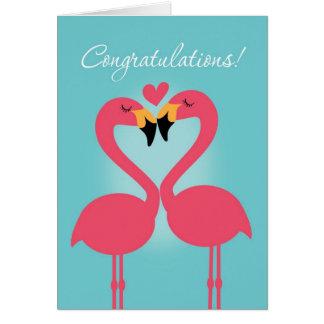 Enhorabuena lesbiana linda del boda del flamenco tarjeta de felicitación