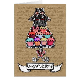 Enhorabuena - magdalenas gay de los pares del boda tarjeta de felicitación