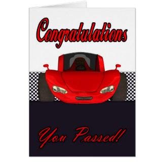 Enhorabuena pasajera prueba de conducción tarjeta
