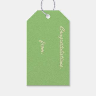Enhorabuena Pistacho-Coloreada (escritura del oro) Etiquetas Para Regalos