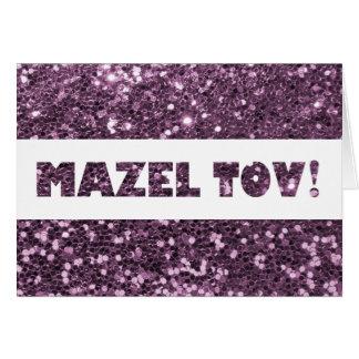 Enhorabuena púrpura de Mazel Tov del brillo de la Tarjeta De Felicitación