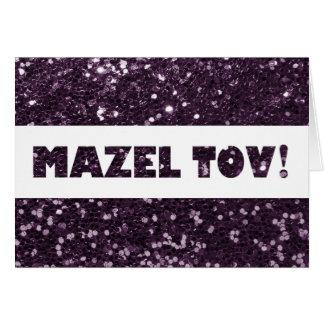 Enhorabuena púrpura de Mazel Tov del brillo del Tarjeta De Felicitación