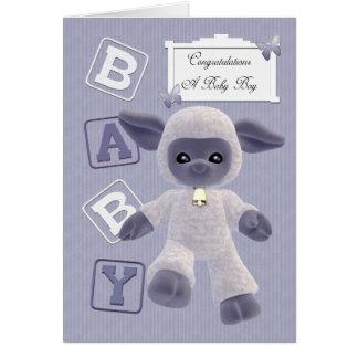 enhorabuena recién nacida del bebé con el cordero tarjeta de felicitación