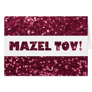 Enhorabuena rosada magenta de Mazel Tov del brillo Tarjeta De Felicitación