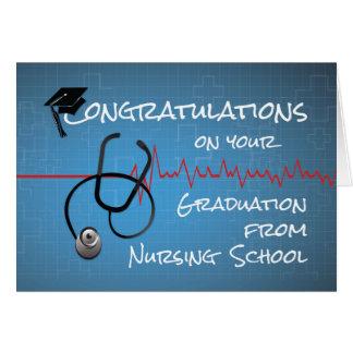Enhorabuena Stethosc de la escuela de enfermería Tarjeta De Felicitación
