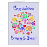 Enhorabuena Steve y Bretaña - corazones y remolino Felicitacion