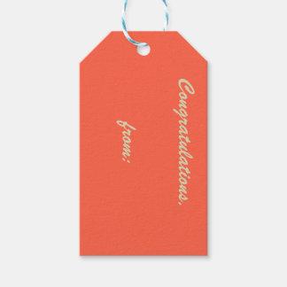 Enhorabuena Tomate-Coloreada (escritura del oro) Etiquetas Para Regalos