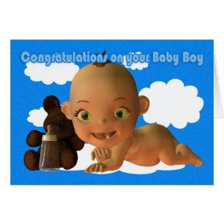 Enhorabuena un bebé hermoso tarjeta de felicitación