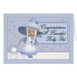 Enhorabuena una niña hermosa tarjeta de felicitación