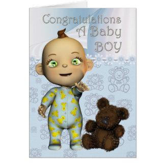 Enhorabuena una tarjeta del bebé con el dibujo ani