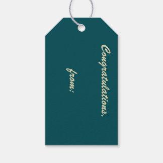 Enhorabuena verde de medianoche (escritura del etiquetas para regalos