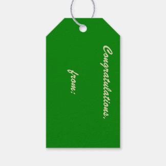 Enhorabuena verde del jardín (escritura del oro) etiquetas para regalos