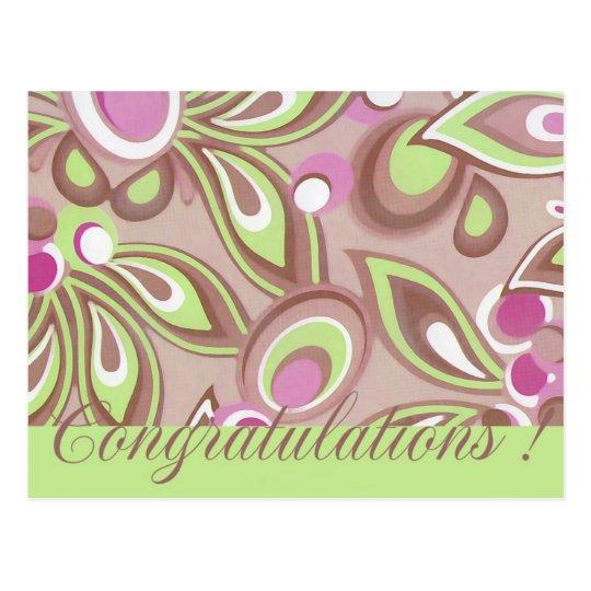 Enhorabuena verde y púrpura mágica postal