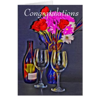 Enhorabuena vino y tarjeta de felicitación de las
