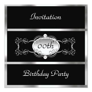 Ennegrezca cualquier negro y plata de la invitación 13,3 cm x 13,3cm