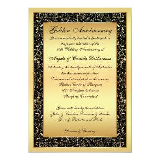 Ennegrézcase, oro que el aniversario adornado de invitación 12,7 x 17,8 cm