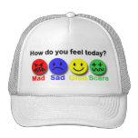 Enojado, triste, alegre y susto gorras de camionero