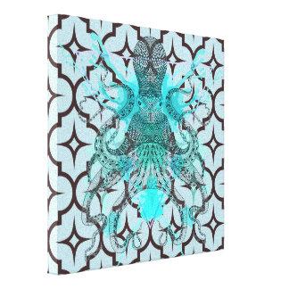 Enrejado, marroquí, modelo, azul, marrón, de moda, lona envuelta para galerías