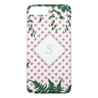 Enreje el iPhone blanco 7 del rosa del monograma Funda iPhone 7 Plus