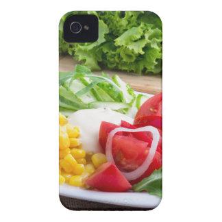 Ensalada natural de tomates, queso del mozarella carcasa para iPhone 4