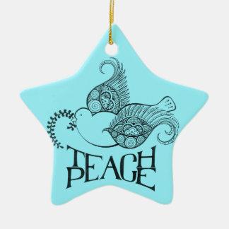 Enseñe al navidad de la paz/al ornamento de Jánuca Adorno Navideño De Cerámica En Forma De Estrella