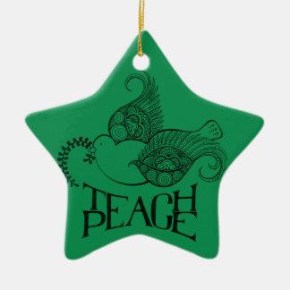 Enseñe al ornamento del navidad de la paz