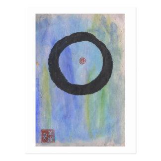 Enso azul (círculo del zen) de la postal de la