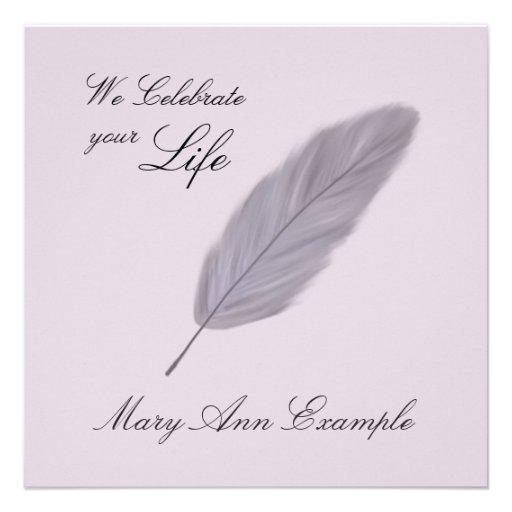 Entierro conmemorativo/de vida adaptable (pluma) invitacion personalizada