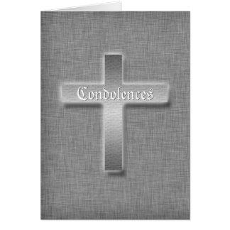 Entierro cruzado de plata de la condolencia de las tarjeta de felicitación