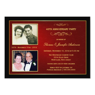 Entonces y ahora aniversario con 2 fotos - 40.as invitación 11,4 x 15,8 cm