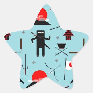 Entre en el Ninja Calcomanía Forma De Estrella