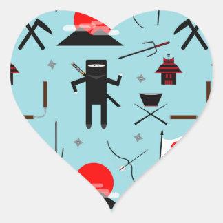 Entre en el Ninja Pegatina En Forma De Corazón