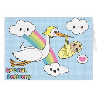 Entrega especial - cigüeña y bebé tarjeta de felicitación